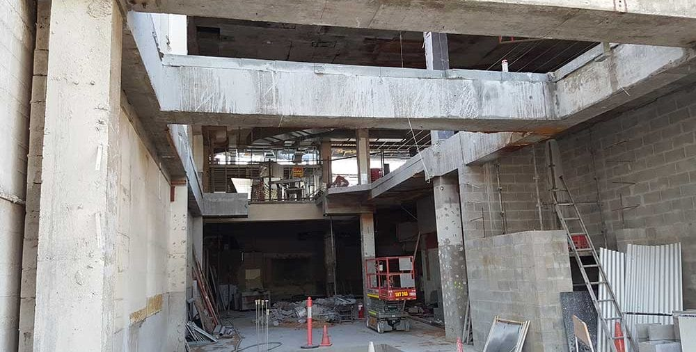 Suspend floors and concrete beams saw cut for removal 2