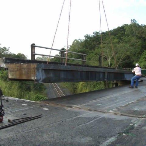 Bridge decks being removed after being cut